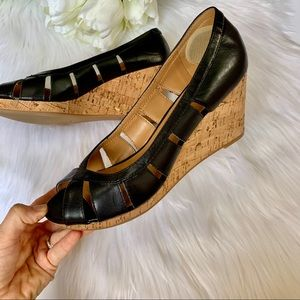 Nine West | Black Cut Out Leather Cork Wedges